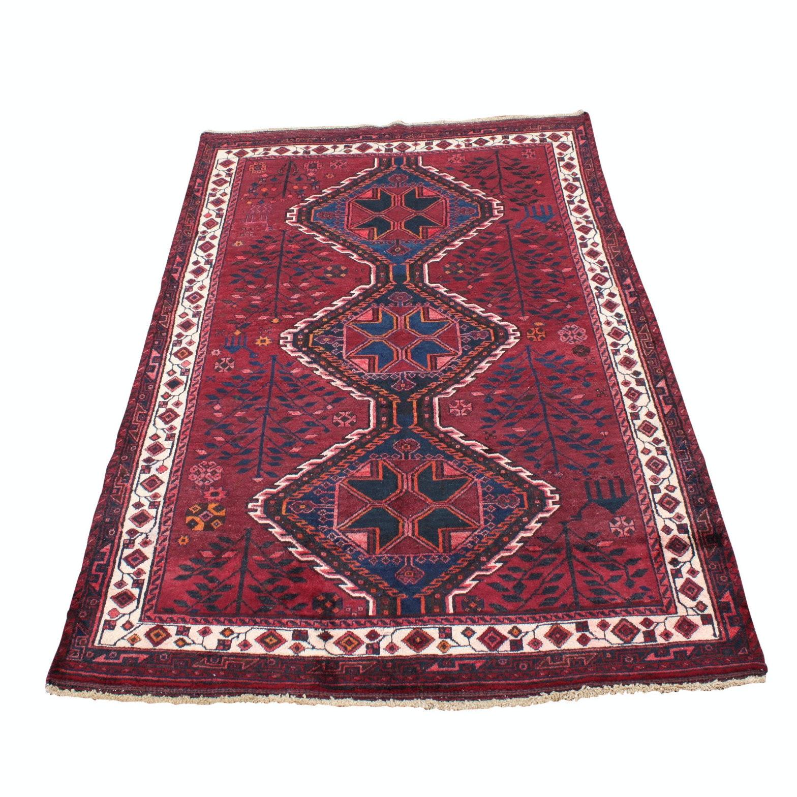 Vintage Hand-Knotted Persian Karaja Heriz Wool Area Rug