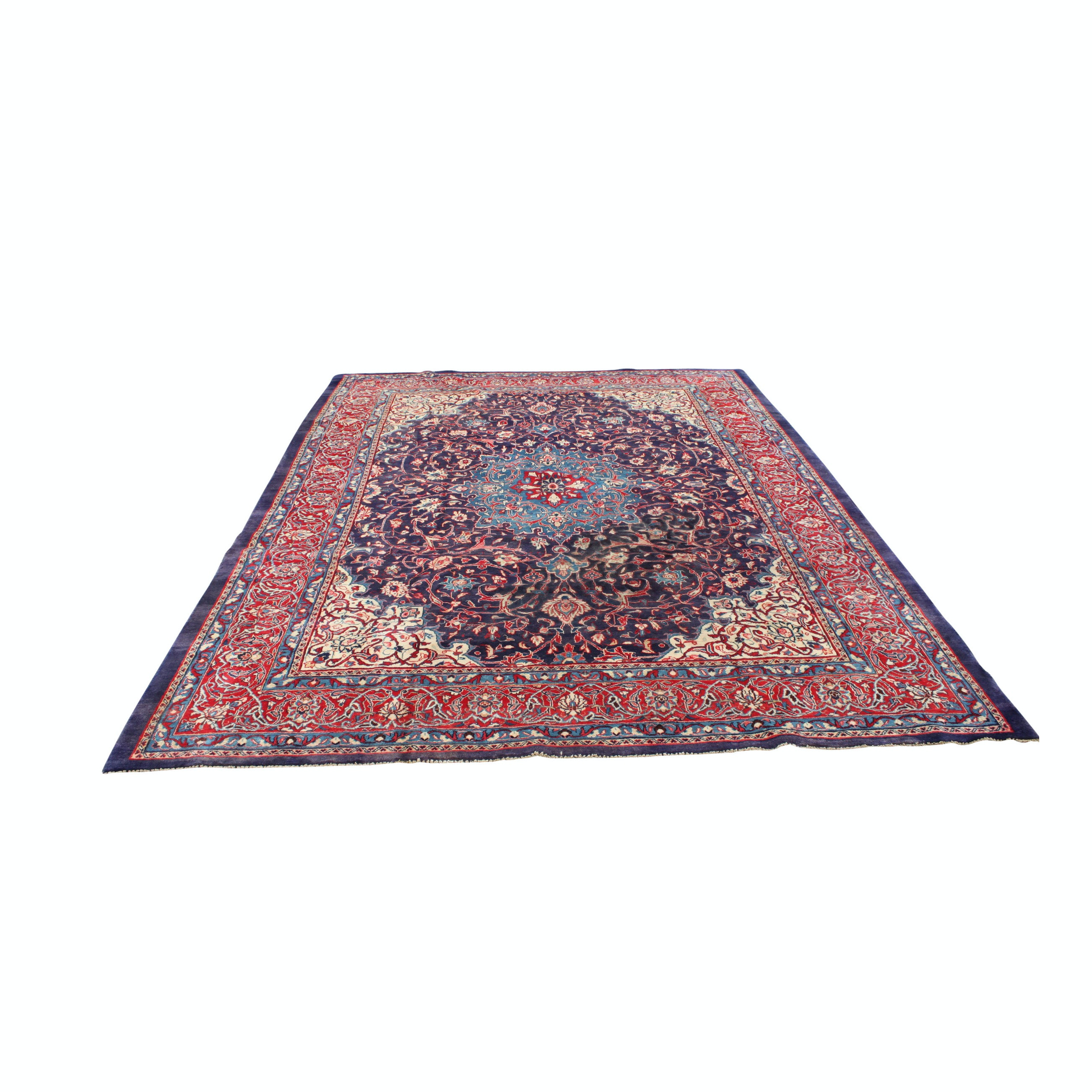 Vintage Hand-knotted Persian Mohajeran Sarouk Wool Room Size Rug