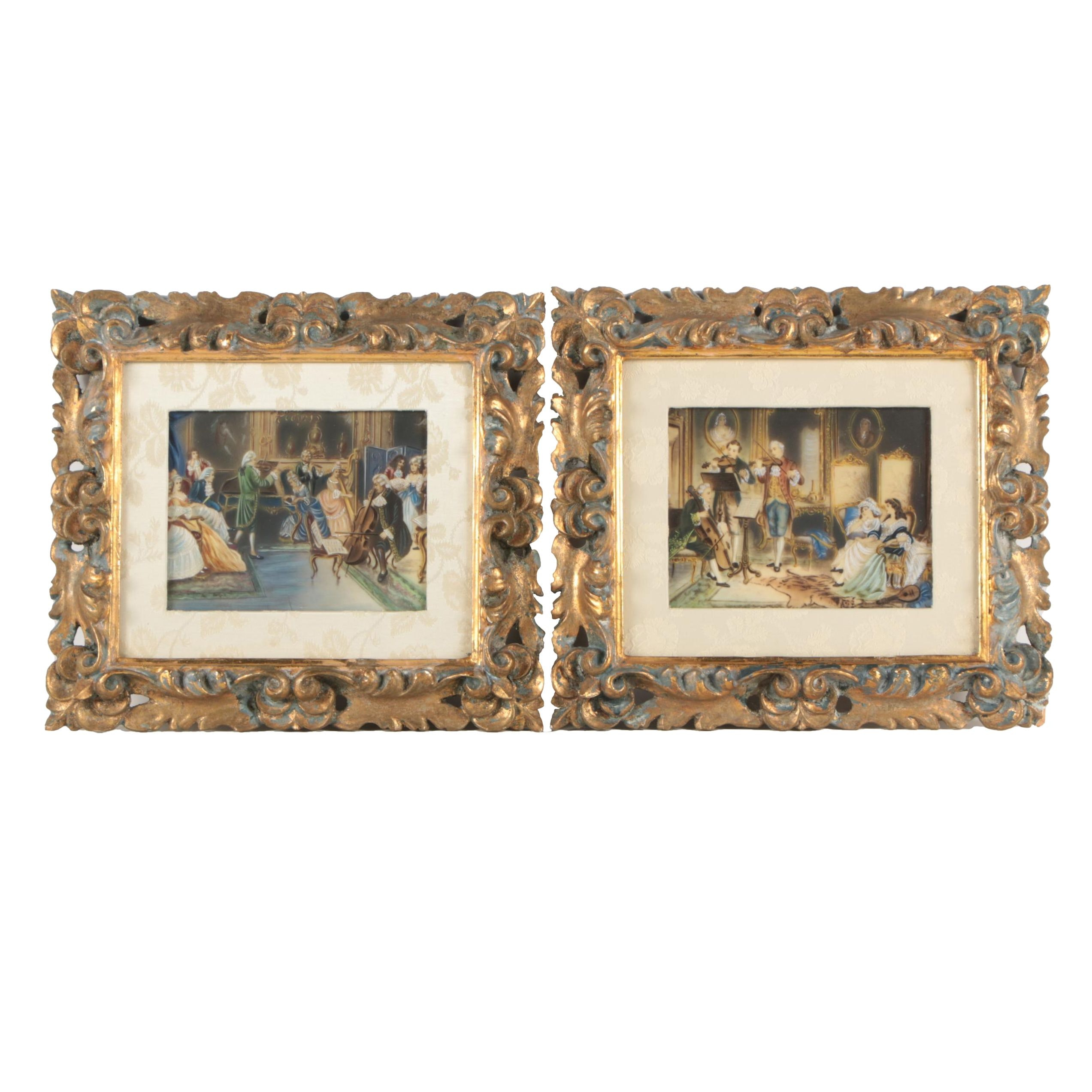 Watercolor and Gouache Paintings on Vellum of European Parlor Scenes