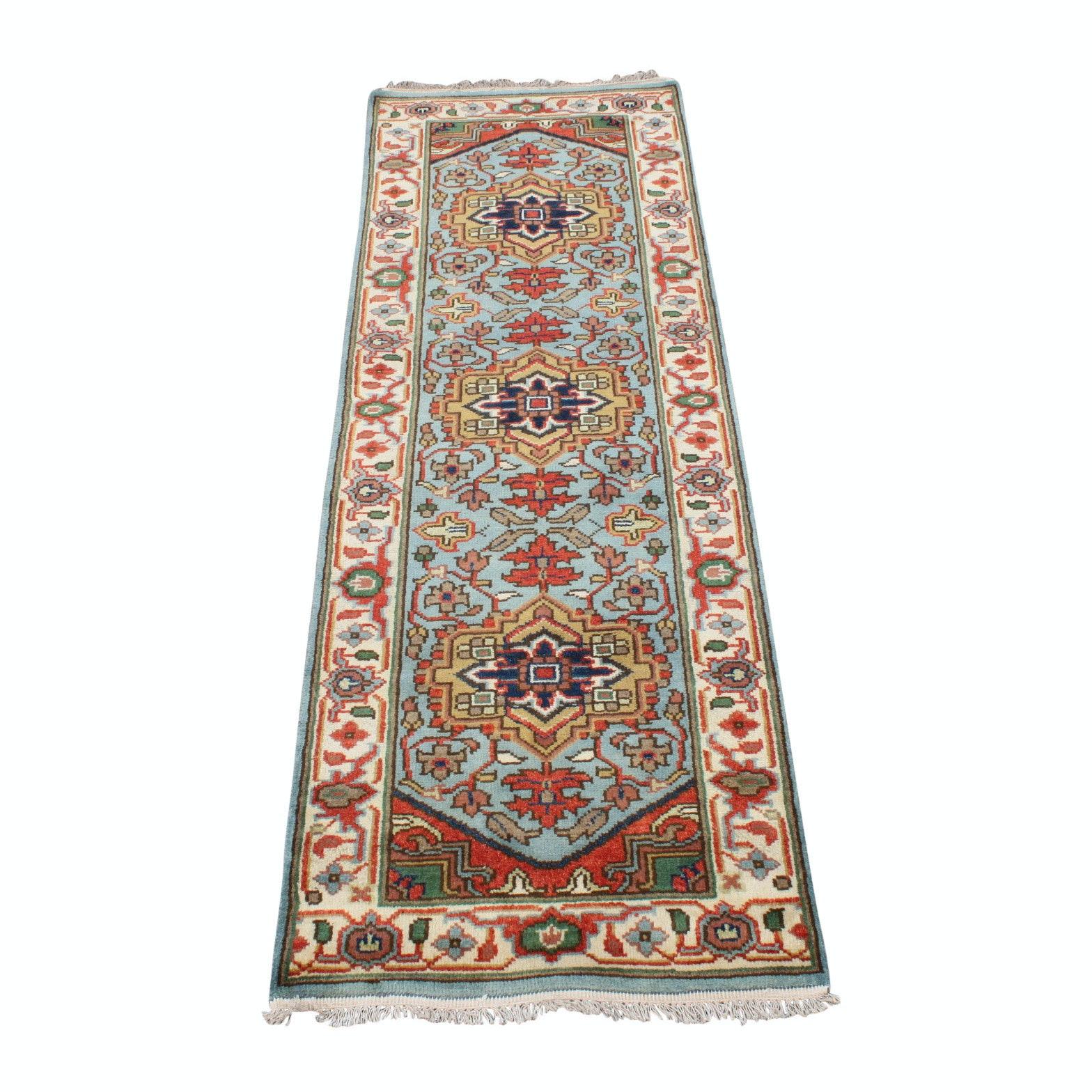 Hand-Knotted Indo-Persian Bakhshayesh Heriz Carpet Runner