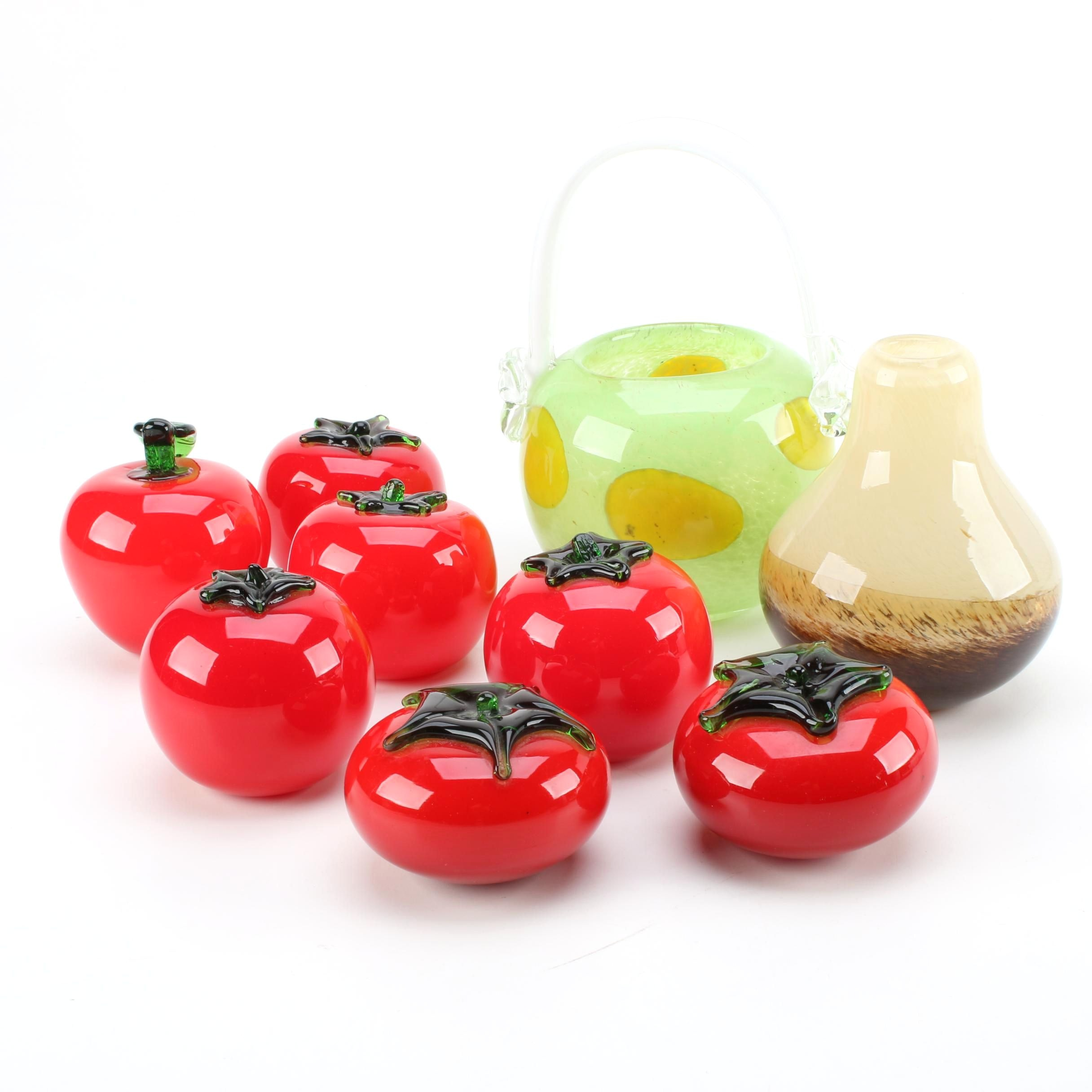Art Glass Tomato Figurines with Basket and Vase