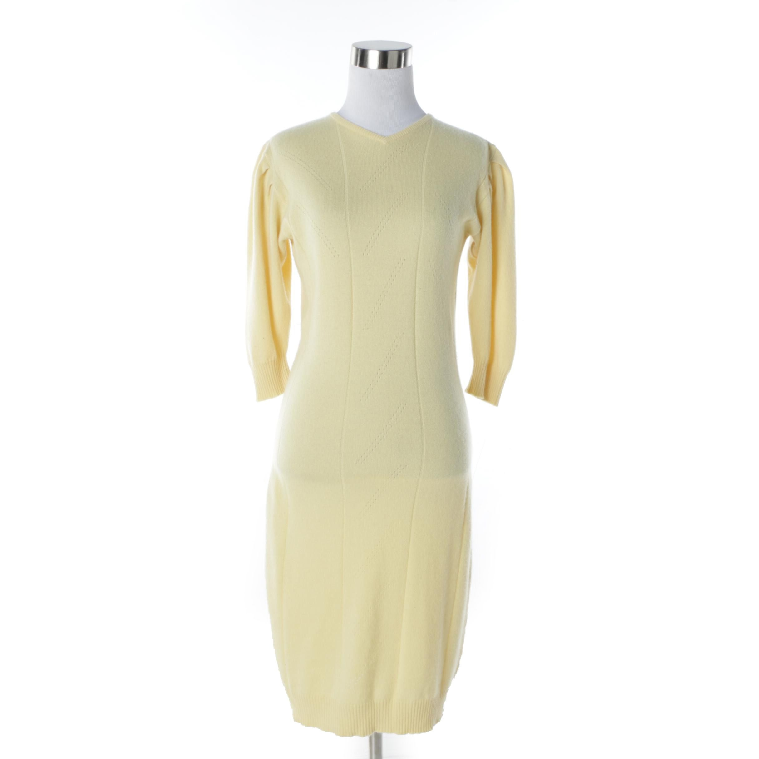 1980s Vintage Jean Muir Pure Scottish Cashmere Sweater Dress in Jasmine Yellow