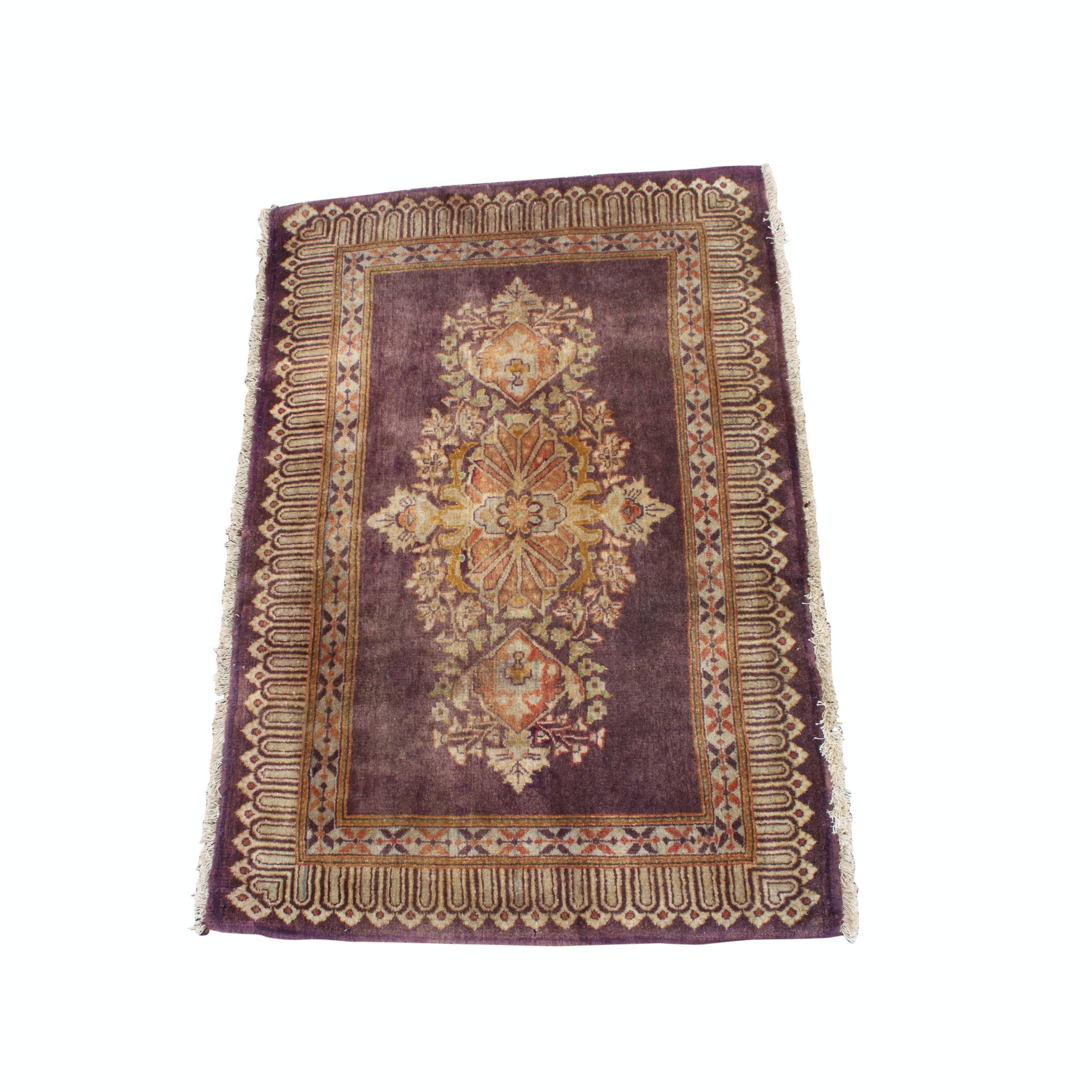 Vintage Hand-Knotted Persian Qom Wool Accent Rug