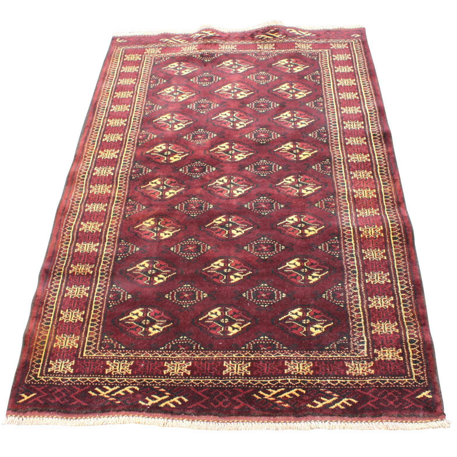 Hand-Knotted Persian Turkmen Wool Area Rug