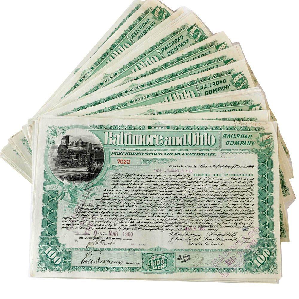 Baltimore and Ohio Stock Certificates