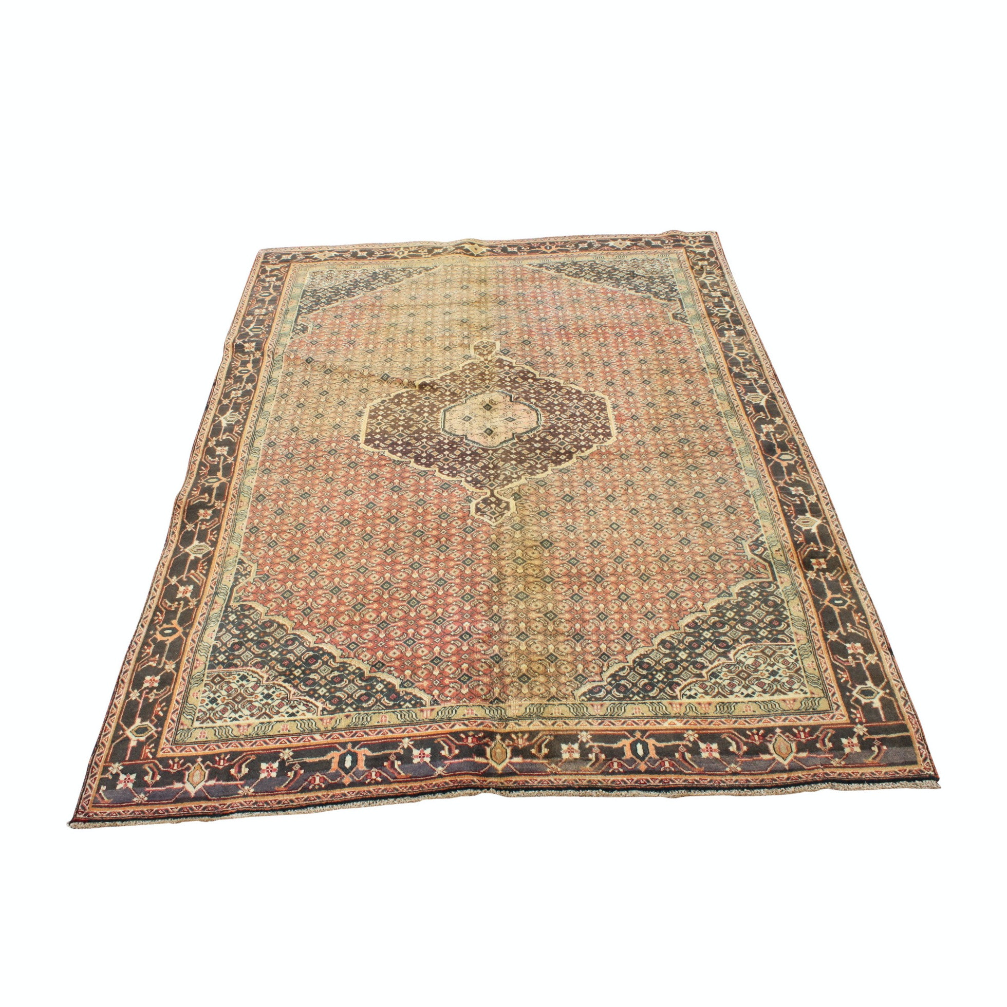 Hand-Knotted Persian Bijar Area Rug