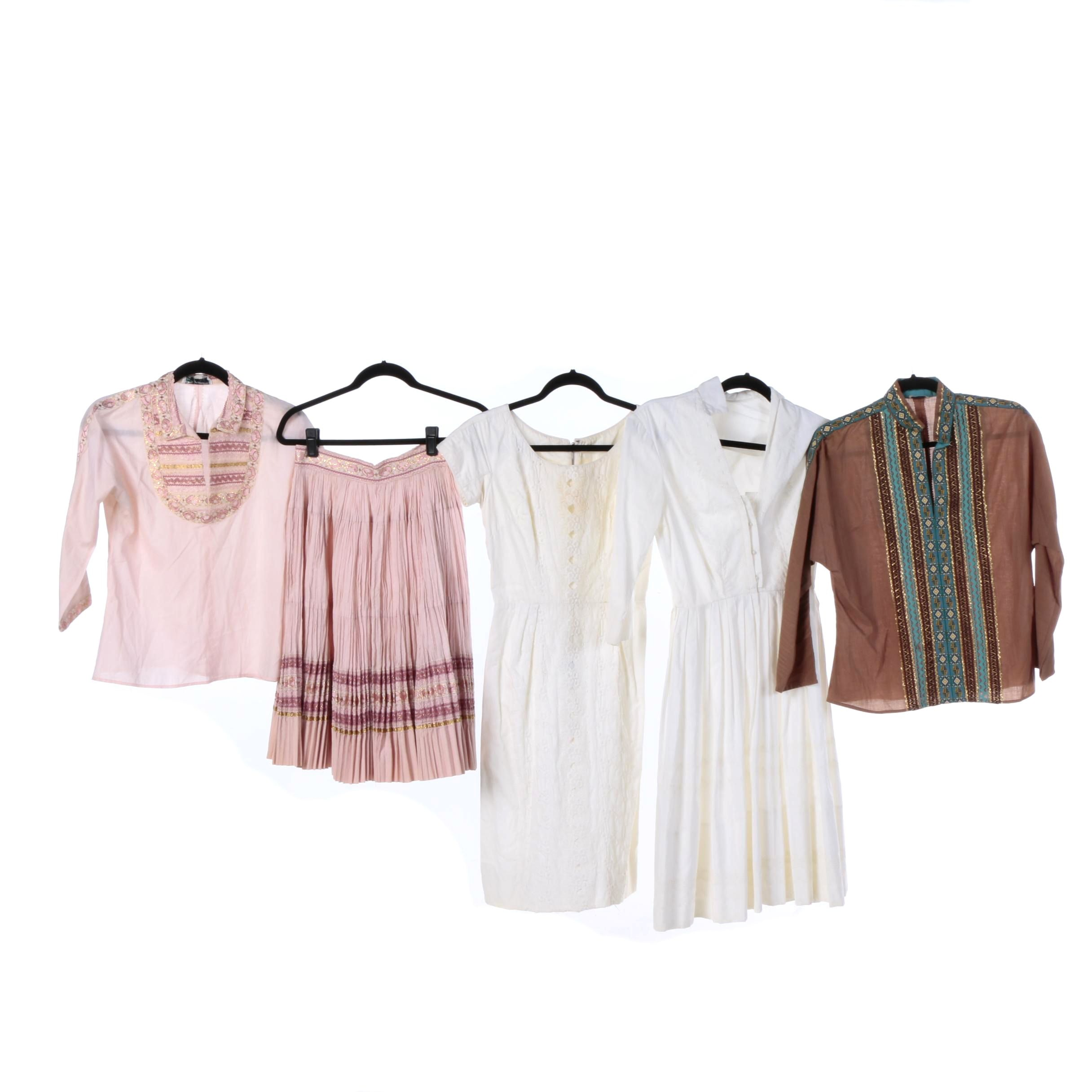 Mid Century Linen and Cotton Summer Dresses Including Lace, Embroidered
