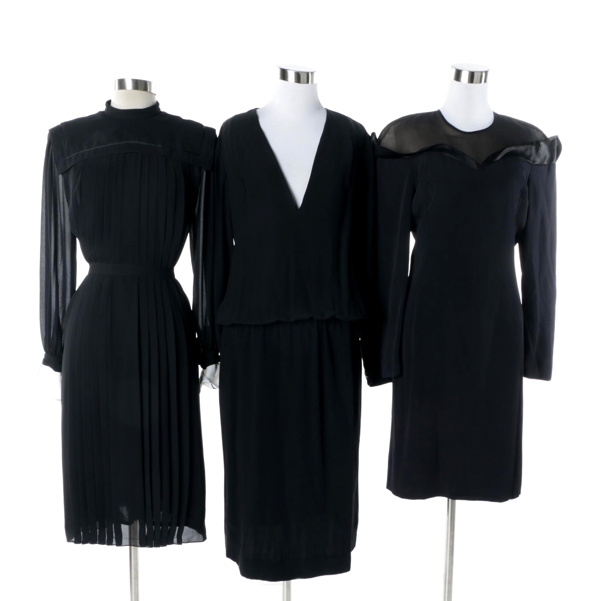 1980s Black Party Dresses Including Pierre Cardin and CH by Carolina Herrera