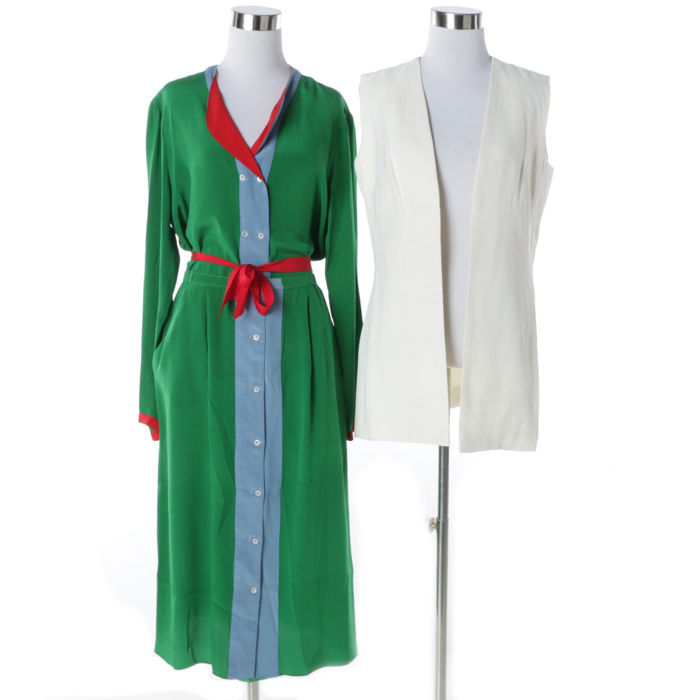 1980s Geoffrey Beene and Donald Brooks Dress and Skirt Blouse Set