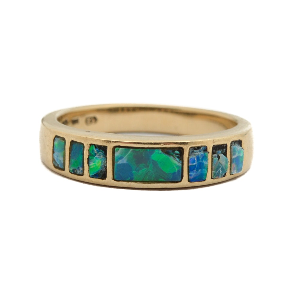 14K Yellow Gold Opal Inlay Ring