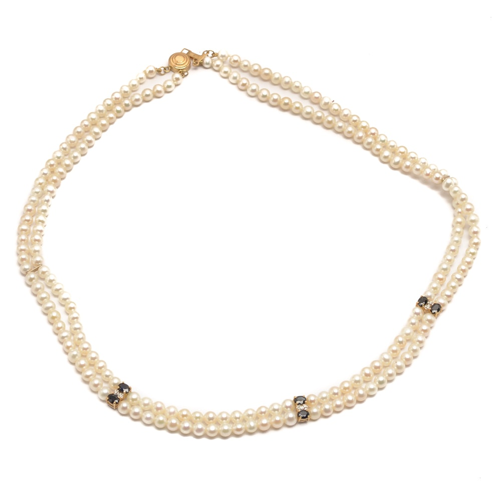 Freshwater Pearl, Sapphire and Diamond Necklace
