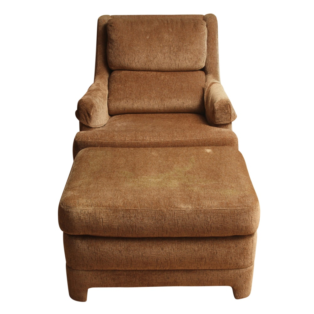 Custom Upholstered Armchair and Ottoman