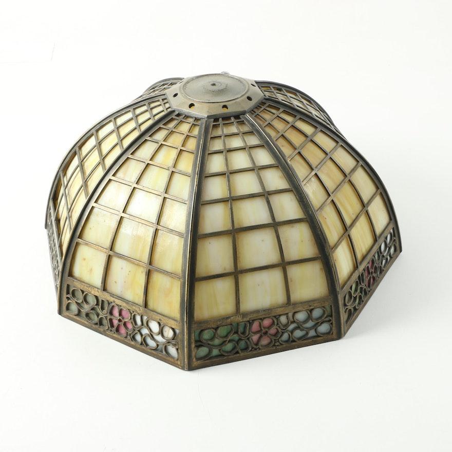 Tiffany style slag glass lamp shade ebth tiffany style slag glass lamp shade aloadofball Image collections