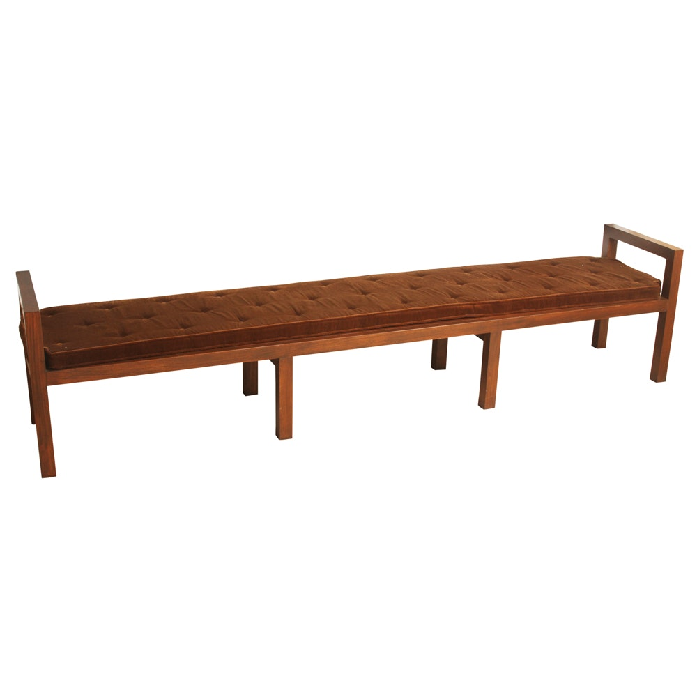 Extended Width Button Tufted Padded Bench