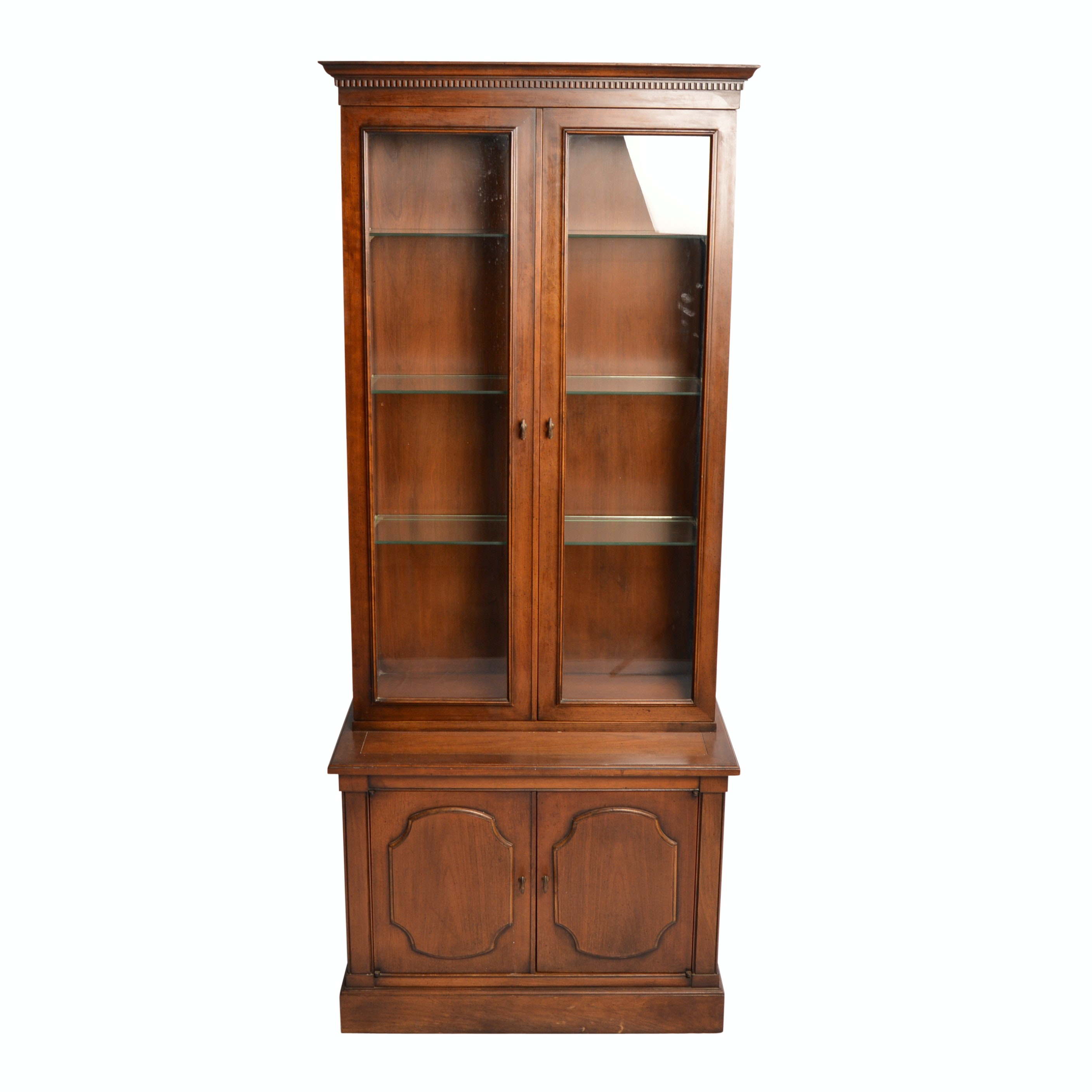 Vintage Lighted Display Cabinet with Record Storage