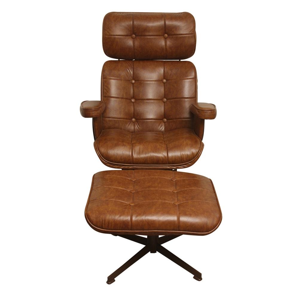 Mid Century Modern Brown Vinyl Reclining Chair and Ottoman