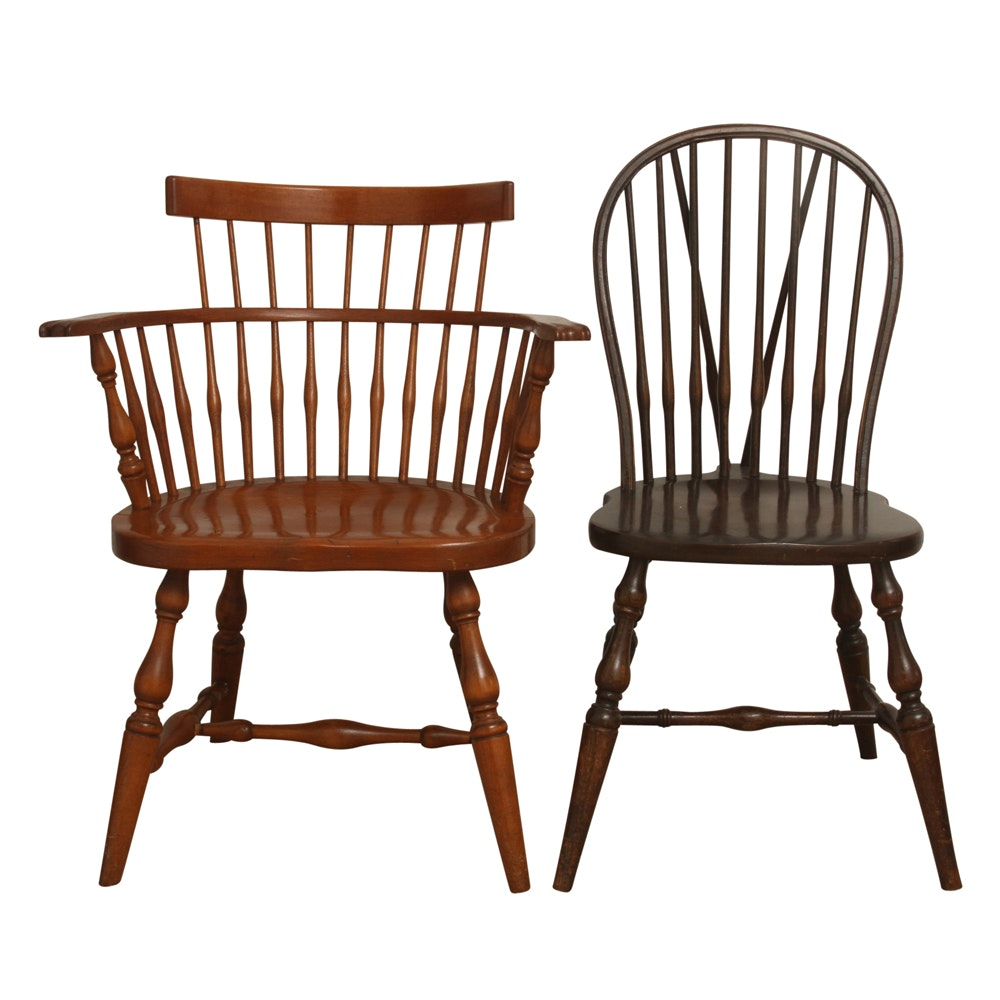 Pair of Vintage Spindle Back Chairs
