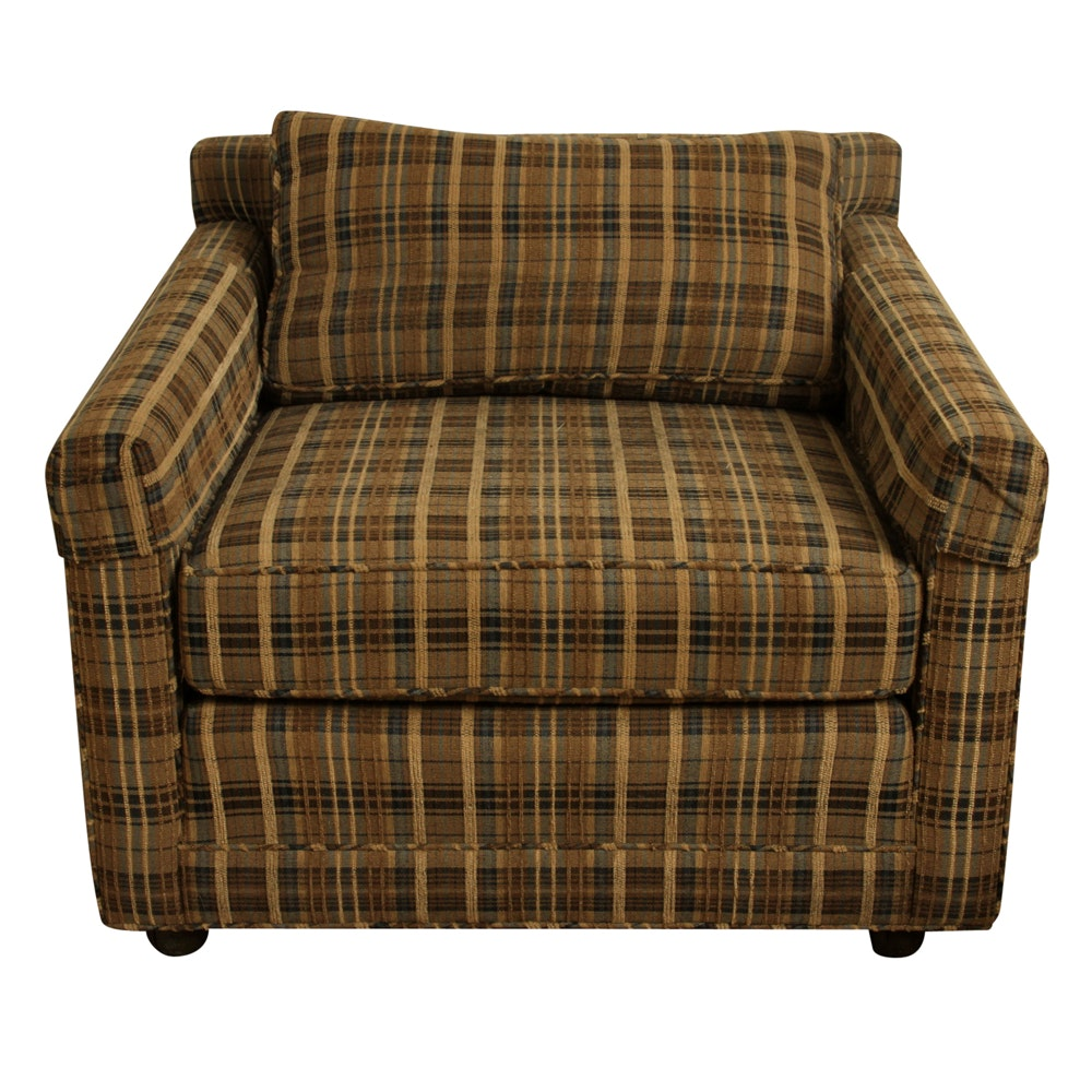Mid Century Modern Style Custom Upholstered Plaid Armchair