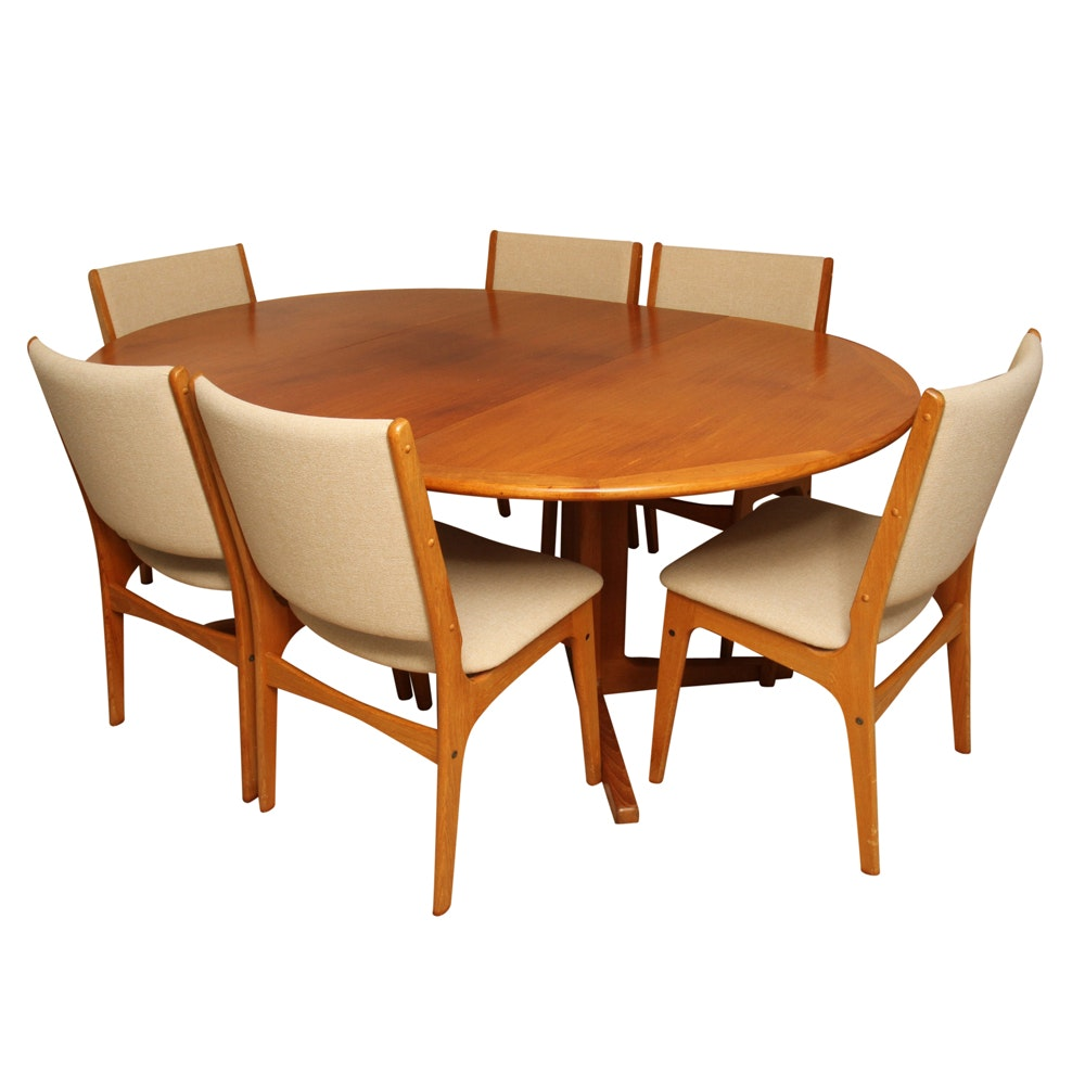 Danish Modern Dining Table and Six Chairs