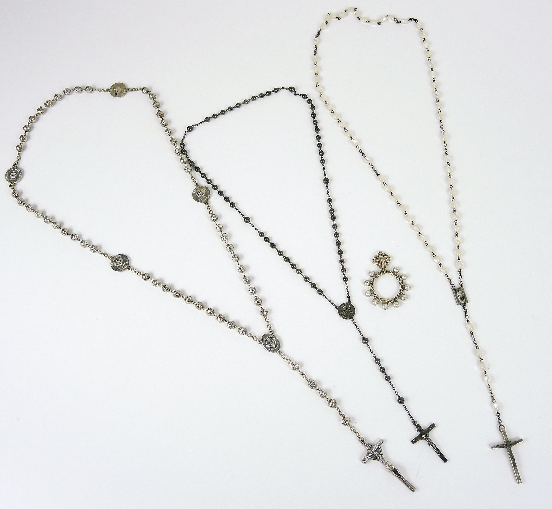 Sterling Silver Crucifix and Beaded Rosary Collection