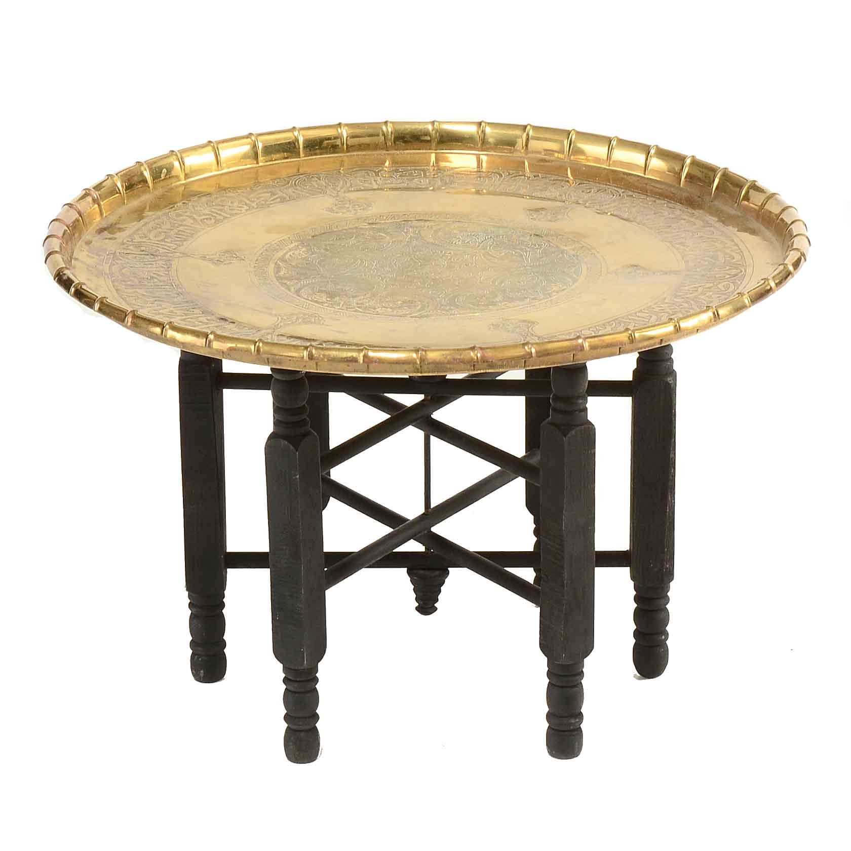 Brass Engraved Asian Tray Table