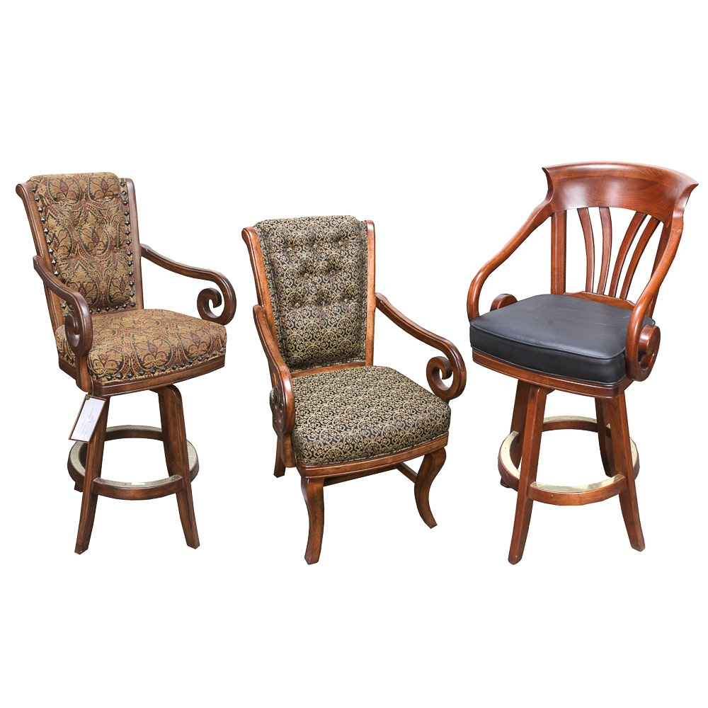 Upholstered Regency Style Armchair and Barstools Featuring Darafeev
