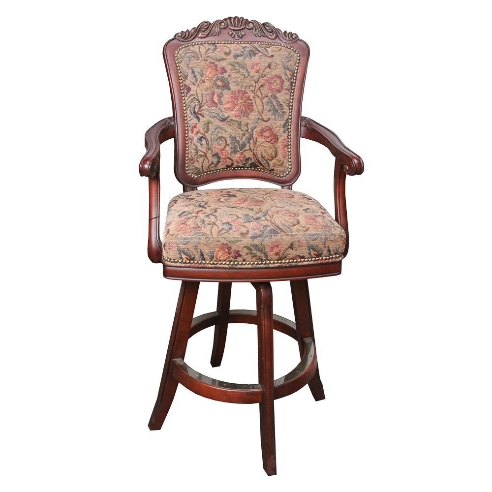 Floral Upholstered Barstool by Darafeev