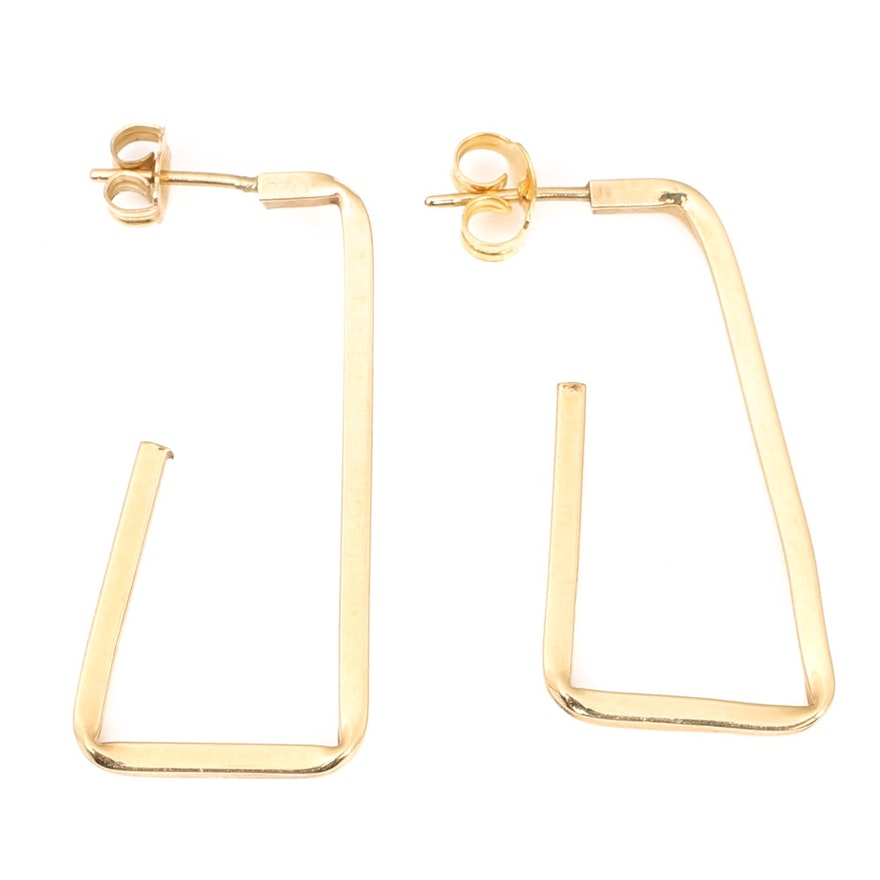 14K Yellow Gold Bar Design Hoop Earrings : EBTH