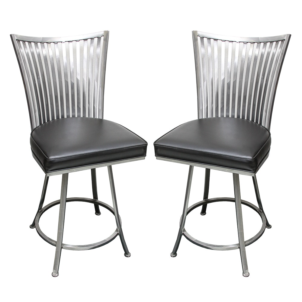 Metal Spindle Back Swivel Side Chairs