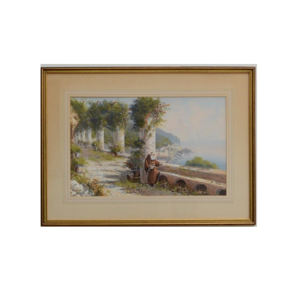 Original Ecclesiastical Watercolor