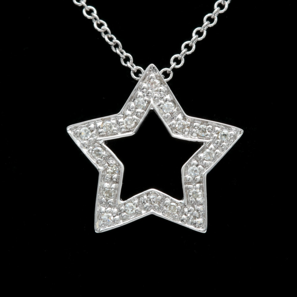 10K White Gold and Diamond Star Pendant with Chain