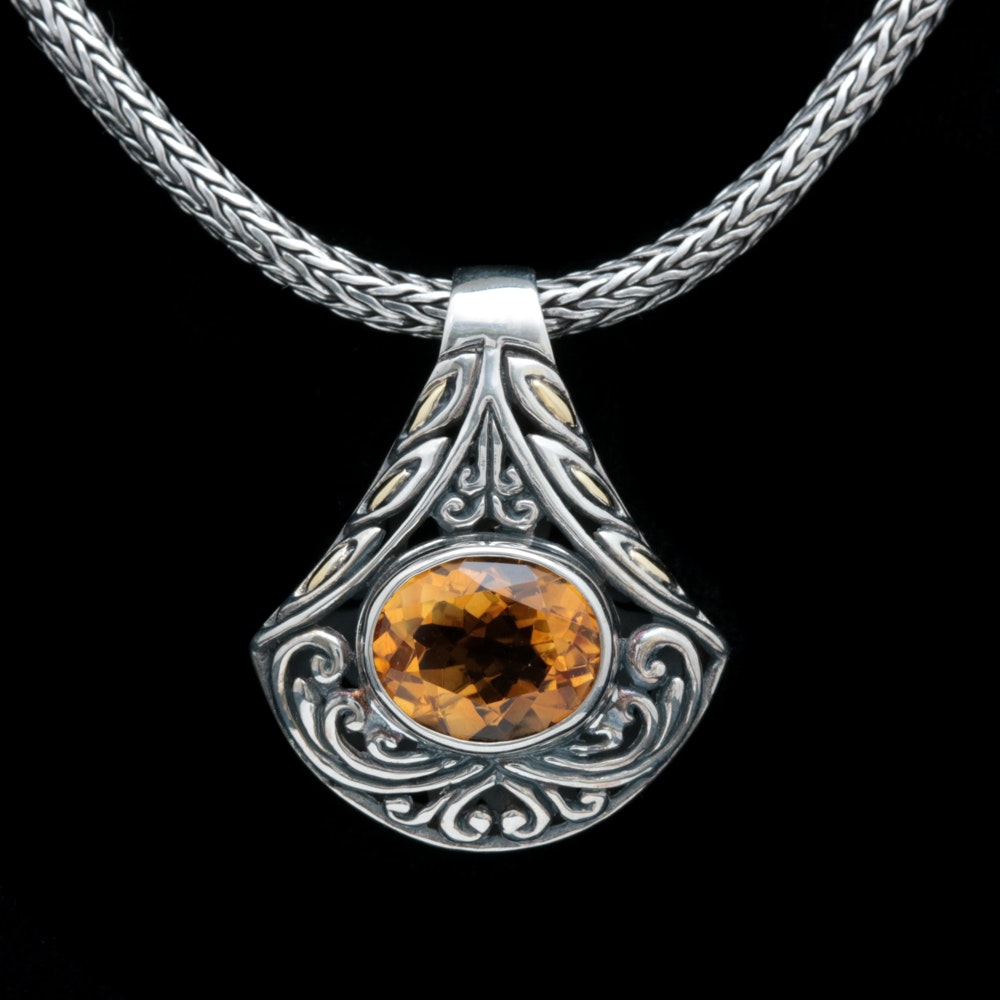 Robert Manse Sterling Silver, 18K Yellow Gold and Citrine Pendant with Chain