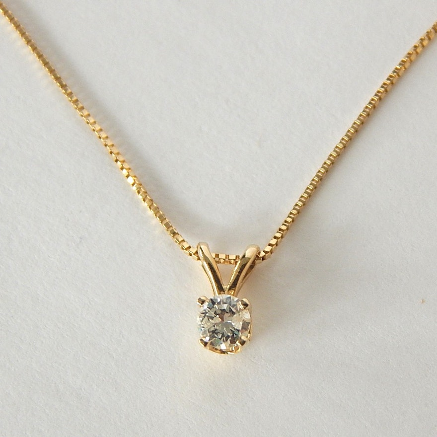 14k yellow gold diamond solitaire pendant necklace ebth 14k yellow gold diamond solitaire pendant necklace aloadofball Images