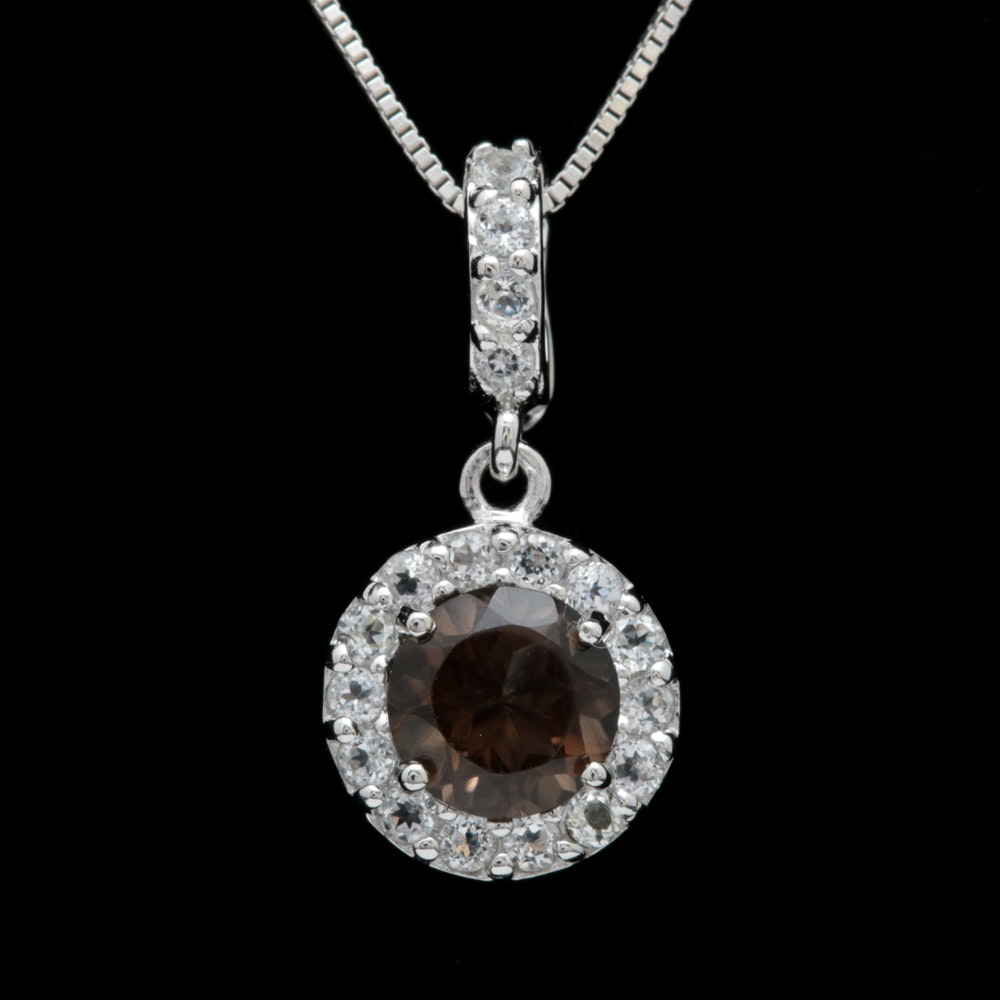 Robert Manse Sterling Silver, Smoky Quartz and White Topaz Pendant with Chain