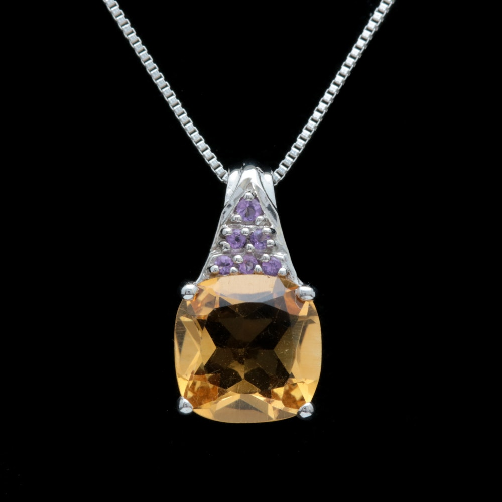 Sterling Silver, Citrine and Amethyst Pendant with Chain