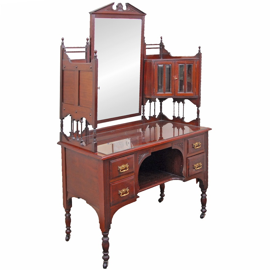 Antique Victorian Mahogany Dressing Table With Mirror
