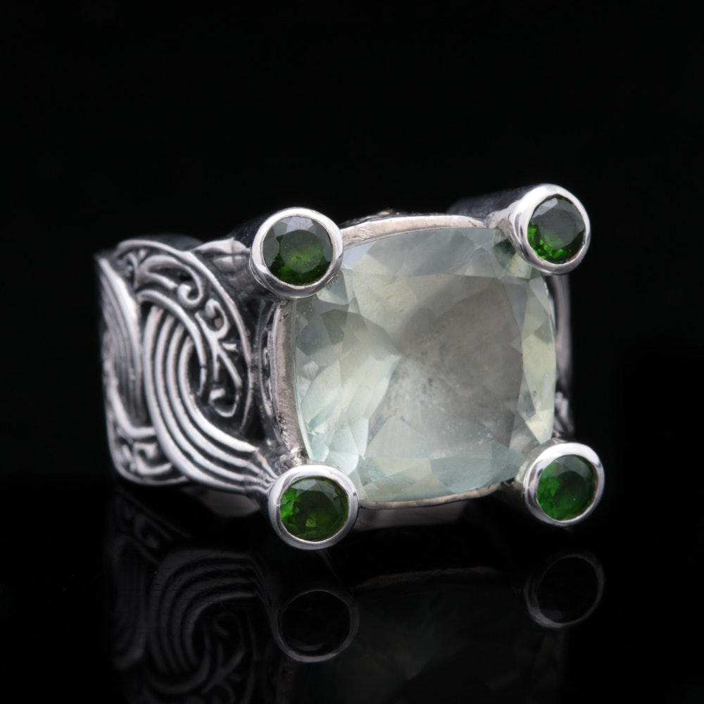 Robert Manse Sterling Silver, 18K Gold, Praseolite and Chrome Diopside Ring