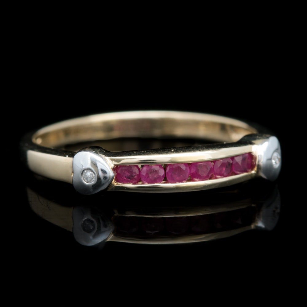 10K Two-Tone Gold, Ruby and Diamond Band
