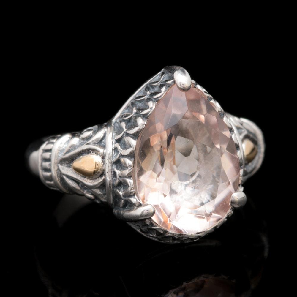 Robert Manse Sterling Silver, 18K Yellow Gold and Peach Quartz Ring