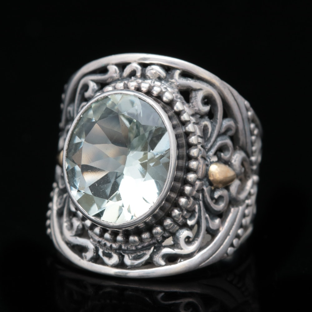 Robert Manse Sterling Silver, 18K Yellow Gold and Praseolite Ring