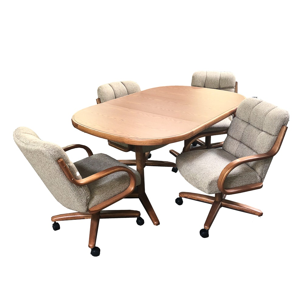 Contemporary Style Conference or Dining Table with Upholstered Chairs