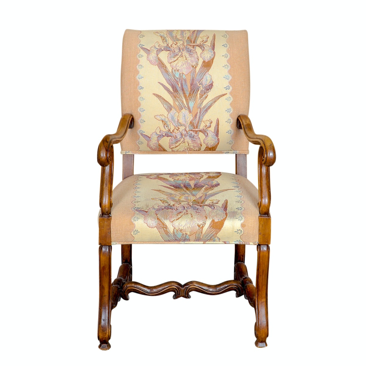 Louis XIV Style Chair with Iris Upholstery