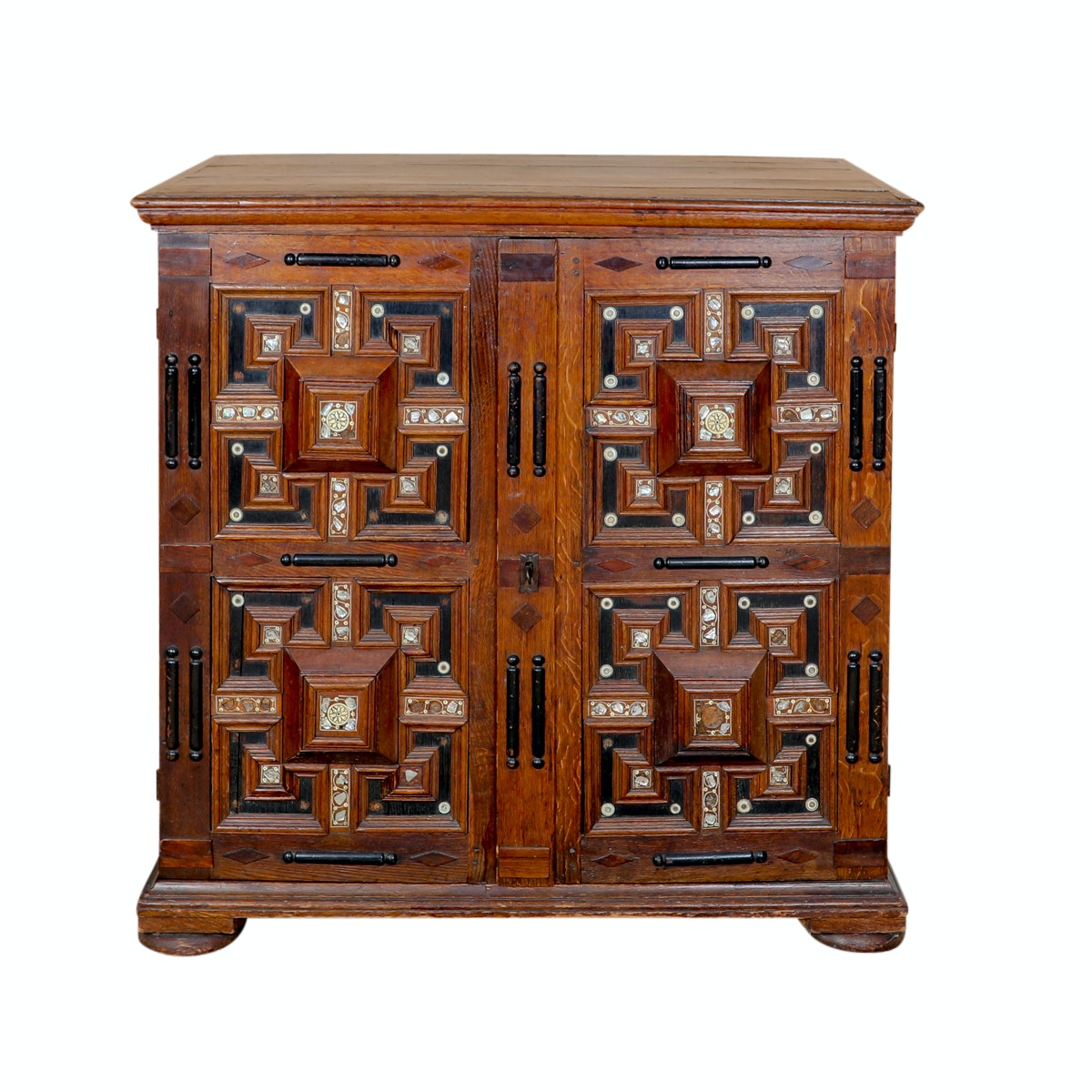 Antique 19th Century Elizabethan Style Oak Cabinet with Mother of Pearl Inlay