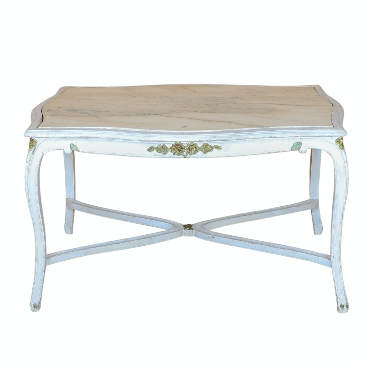 Painted Louis XV Style Stone Top Side Table