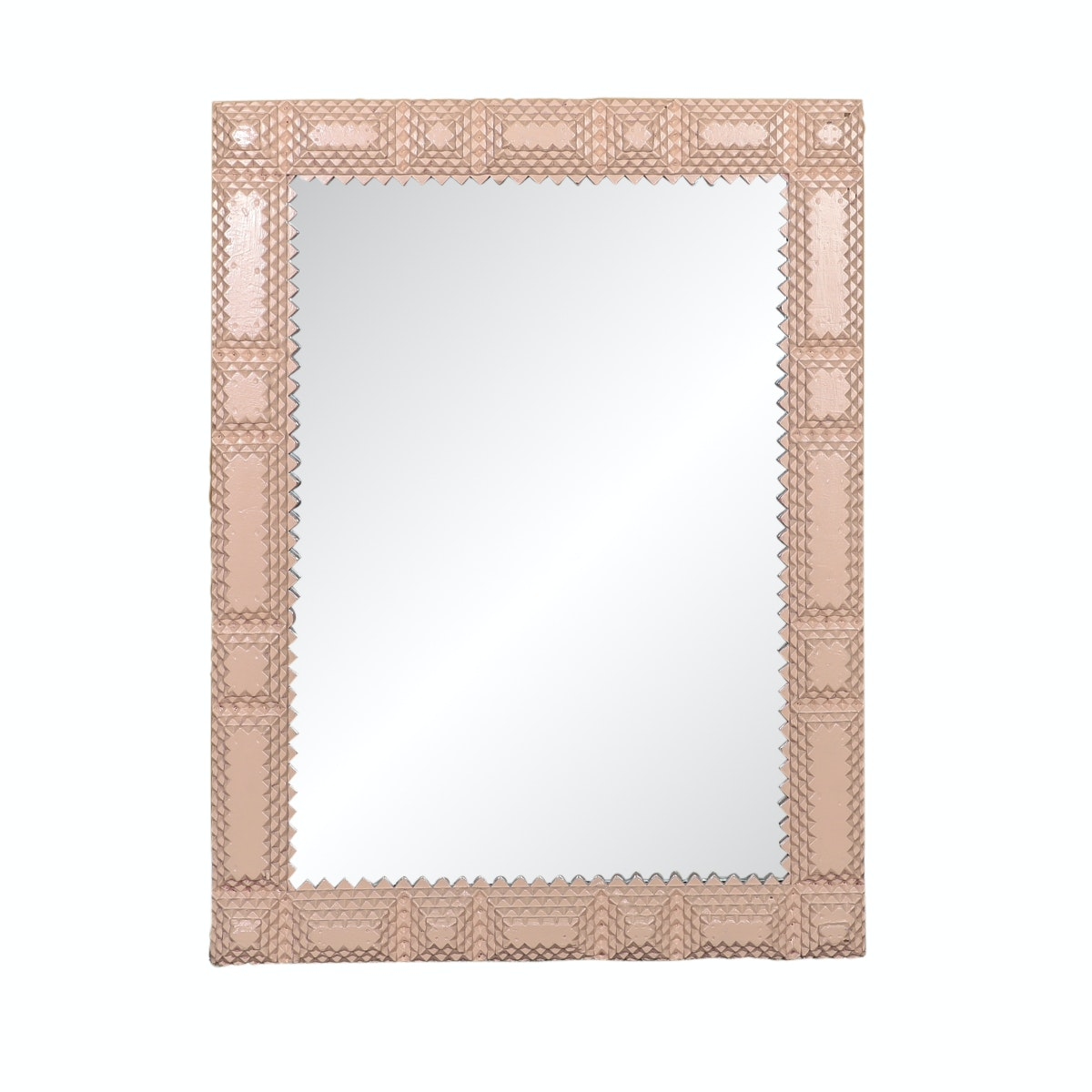 Antique Wood Framed Wall Mirror with Pink Finish
