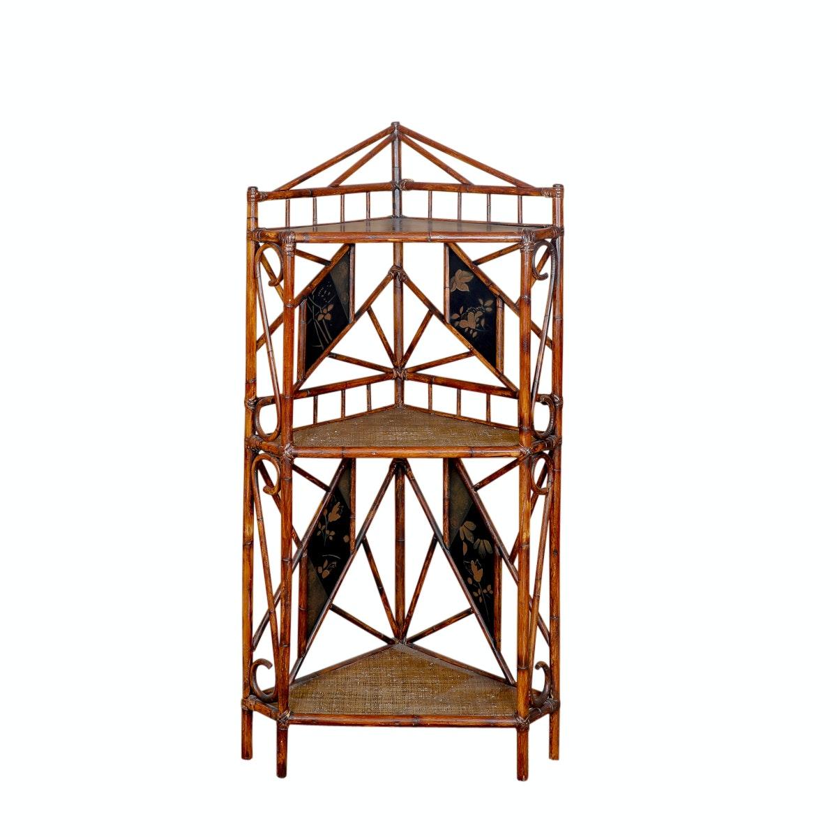 Bamboo Style Tiered Corner Shelf