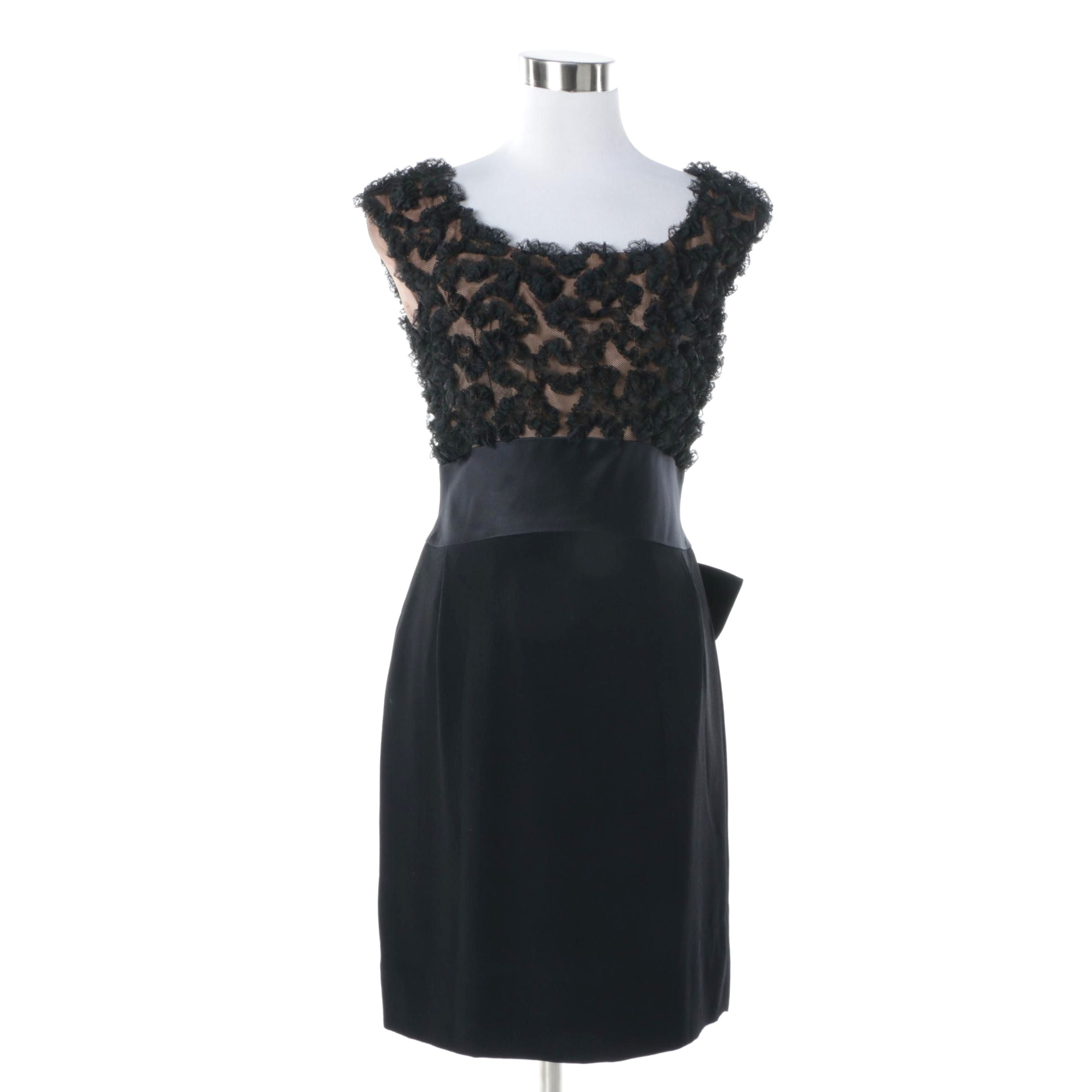 1960s Vintage Pattullo-Jo Copeland Black and Peach Lace Cocktail Sheath Dress