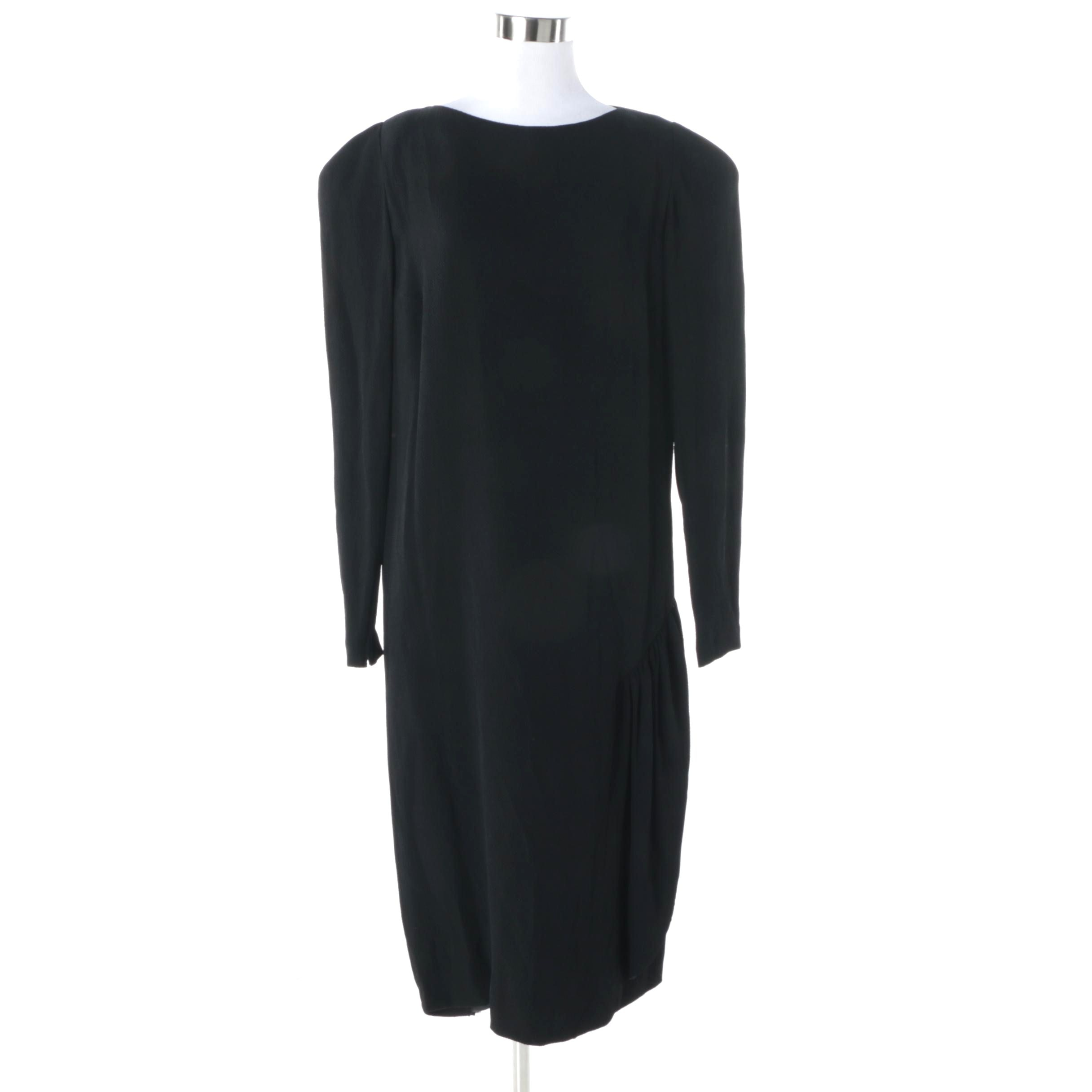 1980s Vintage Pauline Trigere Black Silk Dress