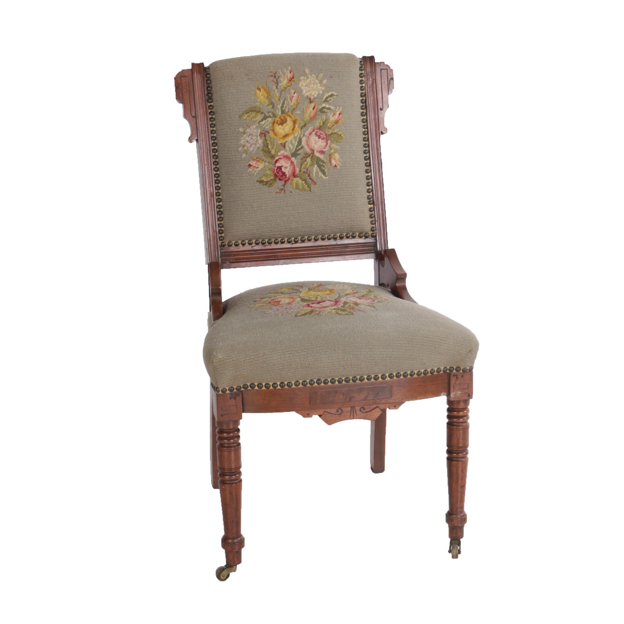 Antique Victorian Eastlake Walnut Needlepoint Chair