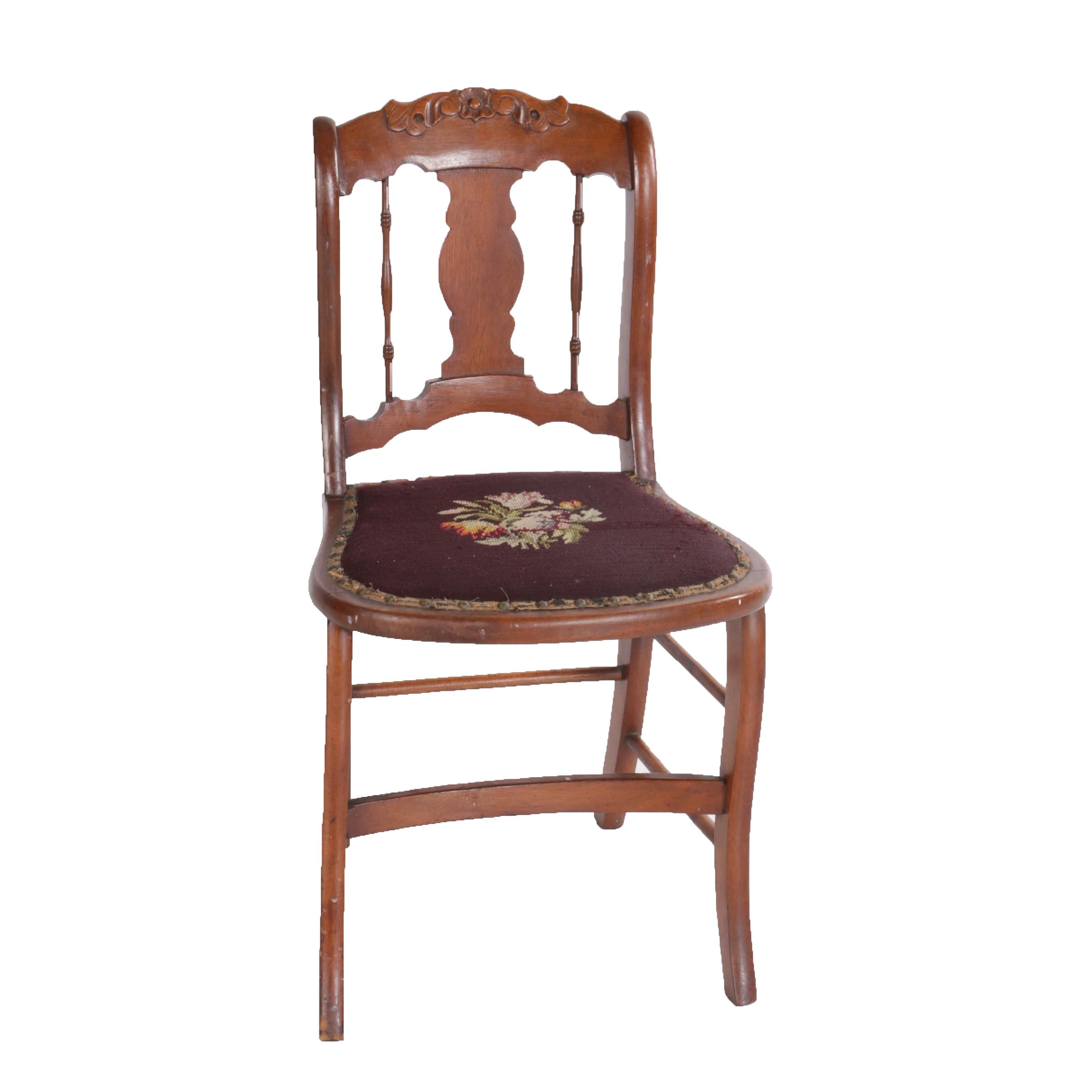 Antique Victorian Carved Dining Chair with Needlepoint Seat